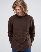 Asos Regular Fit Long Sleeve Neppy Wool Mix Shirt In Brown