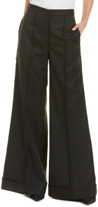 Nicole Miller Artelier Wool-Blend Silk-Trim Pant