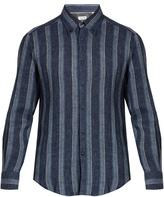 Brunello Cucinelli Slim-fit striped linen shirt