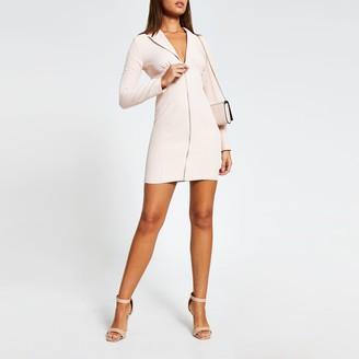 River Island Womens Pink long sleeve zip front blazer mini dress