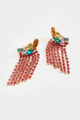 francesca's Julianna Jewel Cluster Statement Earrings - Magenta
