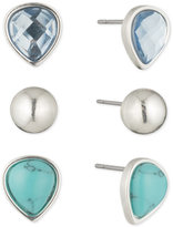 Nine West Silver-Tone 3-Pc. Set Blue Stone Stud Earrings