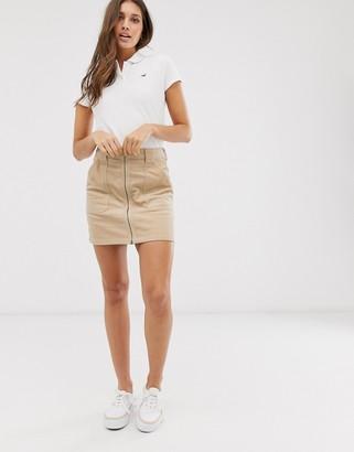 Hollister zip thru cord skirt-Tan