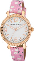 Laura Ashley Ladies Pink Floral Band Fluted Bezel Watch La31005Pk