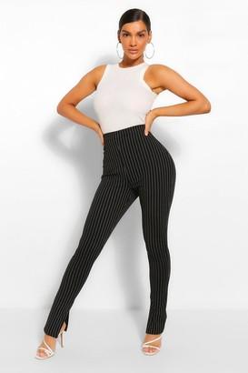 boohoo Pinstripe Split Hem Long Line Slim Fit Trousers