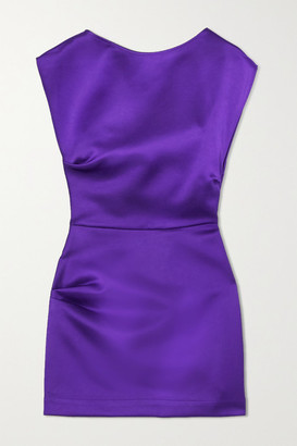 Georgia Alice Lily Gathered Satin Mini Dress - Purple