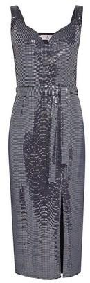 Dorothy Perkins Womens Billie & Blossom Petite Silver Foil Belted Midi Dress, Silver