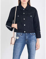 Frame Ladies Black Casual Le Jacket Reverse Cropped Denim