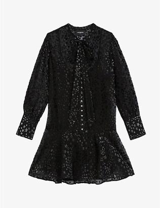 The Kooples Star graphic-print V-neck woven mini dress