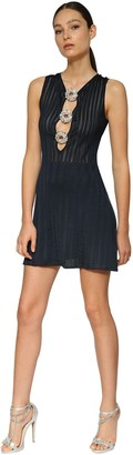 Azzaro Lurex Knit Mini Dress W/crystal Buckles