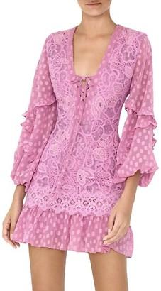 Alexis Malicha Mixed Lace Long-Sleeve Mini Dress