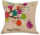 "Highpot New Sale ""Happy Easter"" Cute Eggs Prints Square Cushion Cover Hidden Zip Throw Pillow Case Sofa Car Home Decorative (A)"