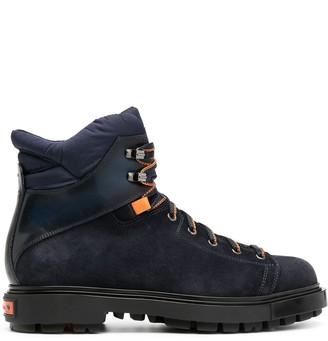 Santoni Contrast-Panel Lace-Up Boots