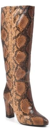 White Mountain Footwear Cosmic Snake Embossed Block Heel Tall Boot