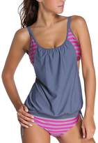 Eternatastic Women's Stripes Lined Up Double Up Tankini Swimwear Swimsuit XL