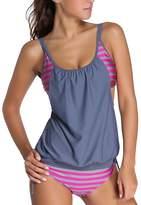 Eternatastic Women's Stripes Lined Up Double Up Tankini Swimwear Swimsuit XXXL