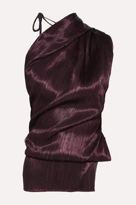 Roland Mouret Lyan One-shoulder Plisse Silk-blend Top - Burgundy