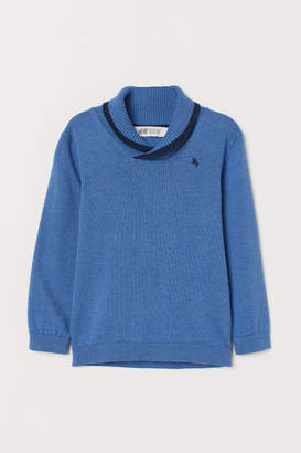 H&M Shawl-collar Sweater - Blue