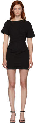 Alexander Wang Black Draped T-Shirt Bustier Dress