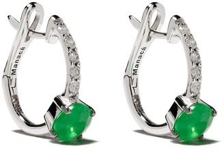 Brumani 18kt White Gold Diamond Hoop Earrings