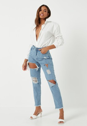 Missguided Blue Stonewash High Rise Ripped Denim Mom Rigid Jeans
