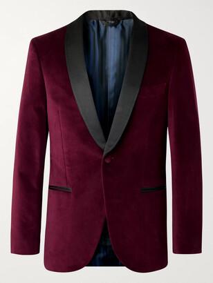Mp Massimo Piombo Petrol Hugo Grosgrain-Trimmed Cotton-Velvet Tuxedo Jacket