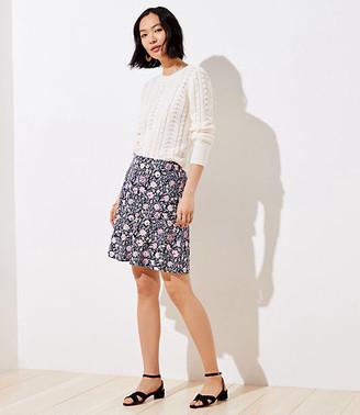 LOFT Petite Floral Ponte Pull On Skirt