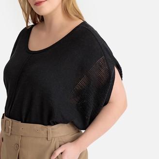 Castaluna Plus Size Cotton/Linen Openwork Short-Sleeved Jumper
