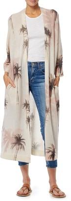 360 Cashmere Arlo Long Palm Tree Print Kimono