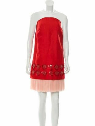 DELPOZO Strapless Mini Dress Red