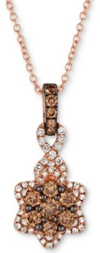 "LeVian Le Vian Chocolatier Diamond Flower 18"" Pendant Necklace (1/2 ct. t.w.) in 14k Rose Gold"