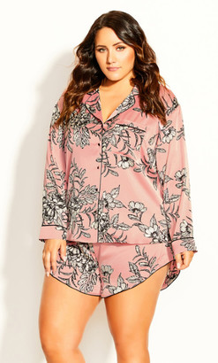 City Chic Pia Pj Print Top - blush