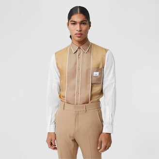 Burberry Classic Fit Panelled Silk and Pinstriped Shirt