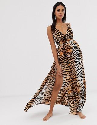 ASOS DESIGN tie back cross front split maxi beach dress in natural tiger print