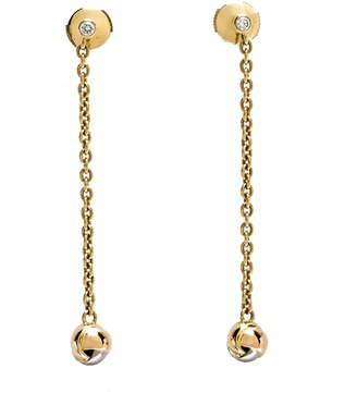 Cartier Diamond Three Tone 18K Gold Trinity Knot Long Dangle Earrings