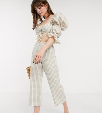 ASOS DESIGN Petite seersucker trouser in white and beige