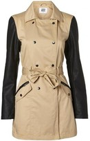 Vero Moda Track Faux Leather Sleeve Spring Trench Coat Blue