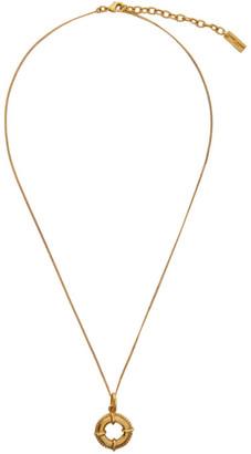 Saint Laurent Gold Lifebuoy Pendant Necklace