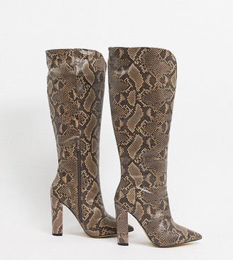 Public Desire Wide Fit Slow knee high boots in brown snake
