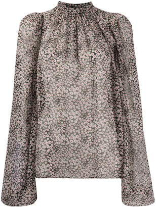 Rochas Band-Collar Floral-Print Blouse