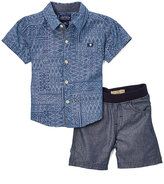 Lucky Brand Indigo Lucky Geometric Woven Button-Up & Shorts - Infant