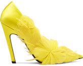Balenciaga Feather-embellished Satin Pumps - Bright yellow