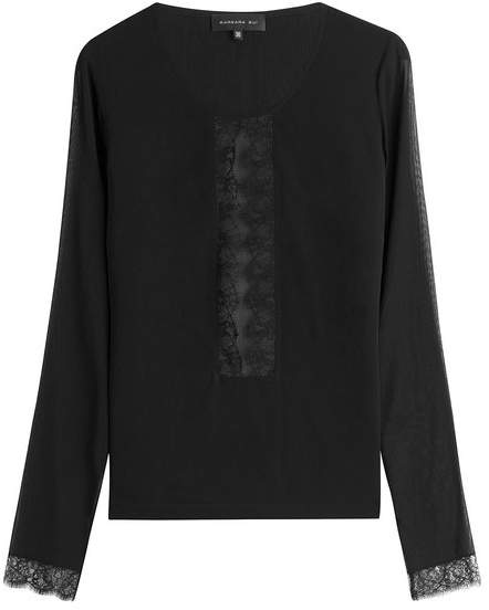 Barbara Bui Silk Top with Lace Panels