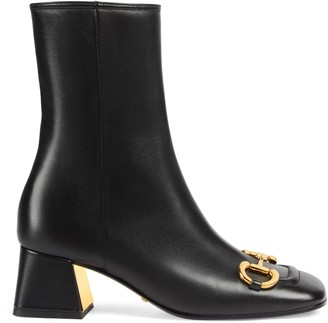 Gucci Women's mid-heel ankle boot with Horsebit