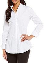 Ellen Tracy Ruffled Collar Satin Stripe Poplin Shirt