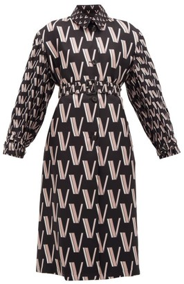 Valentino V-print Pleated Silk-faille Trench Coat - Black White