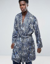 Asos Velour Robe In Paisley Print