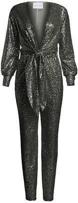 Carolina Ritzler Tie-Front Sequin Jumpsuit