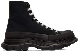 Alexander McQueen Black Canvas Lace-Up Boots