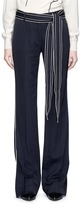 VICTORIA, VICTORIA BECKHAM Stripe embroidered outseam belted suiting pants